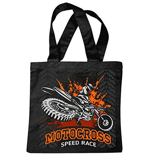 Tasche Umhängetasche Speed Race EXTREM Sport Motocross Outdoor Motocross Bike CROSSBIKE Freestyle Einkaufstasche Schulbeutel Turnbeutel in Schwarz