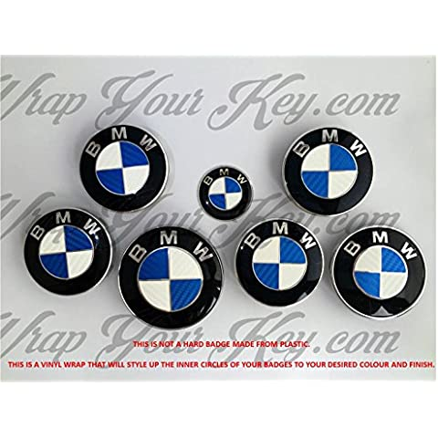 Rivestimento per logo BMW in fibra di carbonio, per cofano, bagagliaio e cerchi in lega. Adatto a tutti i BMW, colore blu e bianco
