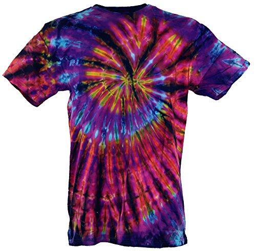Guru-Shop Batik T-Shirt, Herren Kurzarm Tie Dye Shirt - Lila/Rot Spirale, Mehrfarbig, Baumwolle, Size:M, Rundhals Ausschnitt Alternative Bekleidung (Klein Tie Herren Dye)