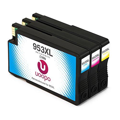 Uoopo 953 953xl compatibile sostituzione per hp 953xl cartucce d'inchiostro , multipack per hp officejet pro 8740 8710 8720 8730 8728 7740 8725 8218 8715 8718 8719 stampante. confezione da 3 (1 ciano 1 magenta 1 giallo)