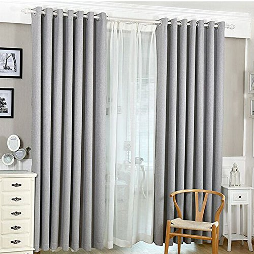 AIHOMETM High-end Pure Solid Colour Window Screening Curtain Drape for Balcony Window Divider (Gray;100cm x 210cm / 39 x 82inch) by AIHOME -