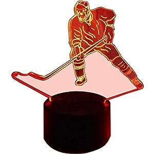 InnoWill Eishockey Fans Geschenk Puck Schlittschuhe Deko Nachtlicht LED Lampe 7Colors