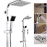 Auralum® Thermostat Duscharmatur Duschpaneel Duschstange Regendusche Duschset Inkl. Handbrause und Regenbrause