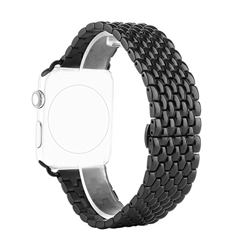 Correa para Apple Watch Series 2 / 1, Rosa Schleife iWatch WristBand Reemplazo de Banda Smart Watch Band de Reloj de Acero Inoxidable Metálica Pulsera Strap para Apple Watch 38mm