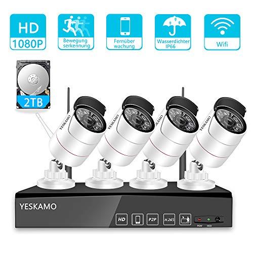 YESKAMO Überwachungskamera Aussen Wlan Set 1080P 8 Kanal NVR Recorder Überwachungssystem mit 4 x HD Kabellos IP Kameras Set 2TB Festplatte H.265 für die Aufnahme, 30M IR Nachtsicht, Bewegungserkennung (Wireless Ip-kamera Außerhalb)