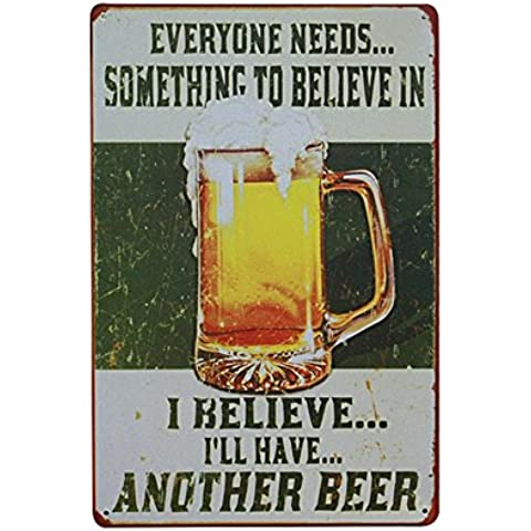 Adorno Hogar Placas Pósteres Cartel Arte Pared Cerveza Beber Estaño Metal Vendimia Decoración Café Bar Pub 08