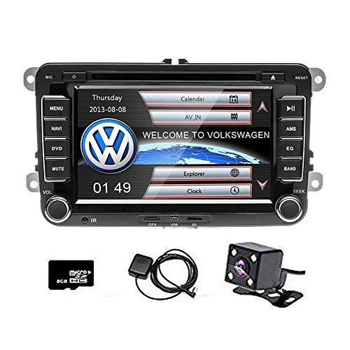 camecho Doppel DIN 17,8cm Auto CD DVD Player GPS Sat Nav Stereo Touchscreen Autoradio für VW Passat Golf Transporter T5+ 4LED Mini Kamera Night Vision (Dvd-player-auto-doppel-din)