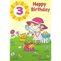 3rd Birthday Card for Girl/Wrapped/Foiled/Age 3