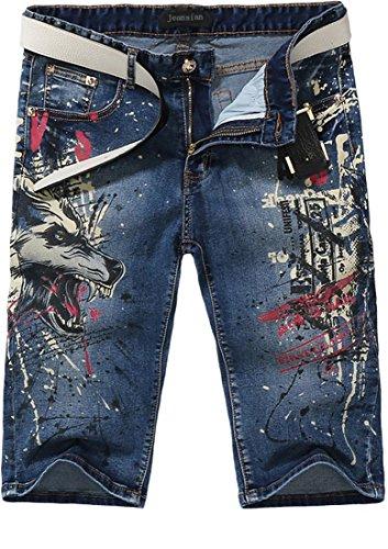 jeansian Herren Mode kausale Hose Jeans MJB032 Blue W33