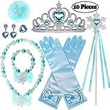 Joinfun 10 Pezzi Accessori Principessa Set Fiocco di Neve Ragazze Elsa Guanti Corona Bacchetta Magica Collana Orecchini Anello Vestito da Partito Blu (Fiocco di Neve)