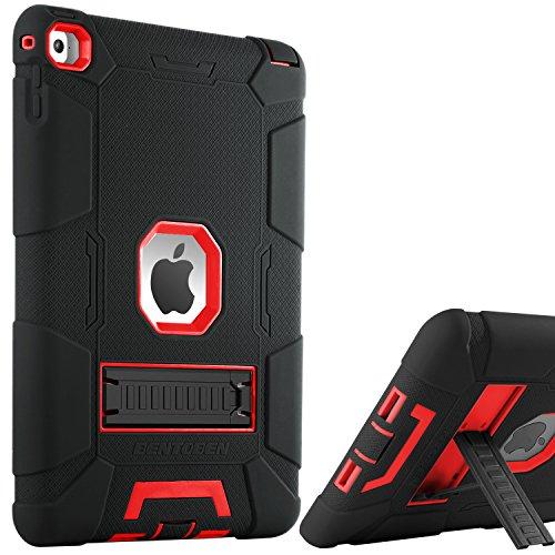iPad Air 2Hülle, bentoben Ständer 3in 1[Weiche und Harte] Hybrid stoßfest Robust Rutschfeste Kratzfest Full Body Schutzhülle für iPad Air 2Retina (iPad 6) Rot M753-Black/Red