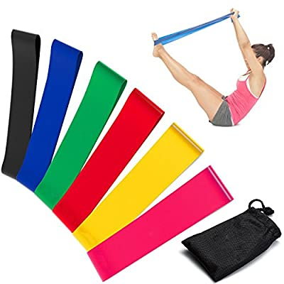 Resistance Loop Bands, [Full Set of 6 Levels]E2Buy Set 6 professional-Grade Fitness Bands for Yoga, Pilates, Dance, Strength, Therapy Stretch and Work Out - Carry Bag Included