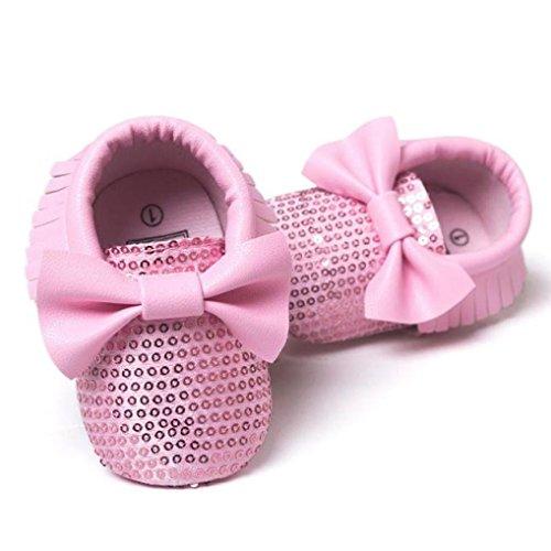 Saingace Bébé Fille Bowknot Glands Paillettes Chaussures (12(11.5cm), Rouge) Rose