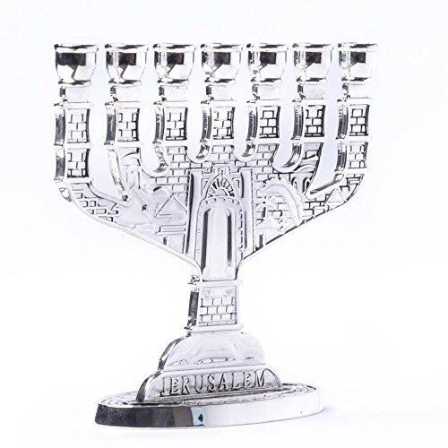 Porte-bougie décoratif de Jérusalem en argent Strass Chandelier 7 branches Hanukkah cadeau