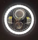 Hard Knit Tarsier 50W 7' H4 LED Headlight for Royal Enfield Bullet With DRL Angle Eye Projector