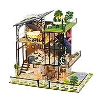 Wooden Miniature Dollhouse 3D DIY Handmade Dollhouse Kit Luxury Three-Storey Duplex Villa Miniature Kit with LED Lights, Kids Toy Gifts Home Decoration