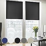 Fensterrollo lichtdurchlässig | zum Bohren | Rollo für kleine und große Fenster und Türen | Sichtschutzrollo in vielen Farben und Größen ( Schwarz, 160 cm breit, 230 cm lang )
