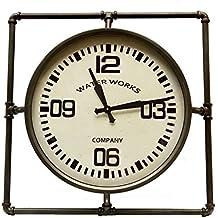 Grande Horloge Ronde Pendule Vintage Cadre Carré en Fer Patiné Gris et Vitre en Verre 6x64x64cm