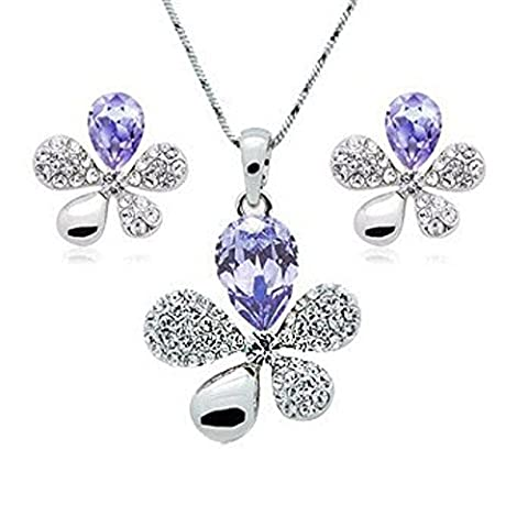 ZIZI Amethyst ~ Flower Necklace and Earring Jewellery Set ~ SWAROVSKI ELEMENTS ~ 18K White Gold Plated - White ZIZI Presentation Box ~ Beautiful