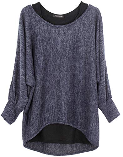 Emma & Giovanni - Damen Langarmshirt/Pullover (2 Stück) (XL, Blau)