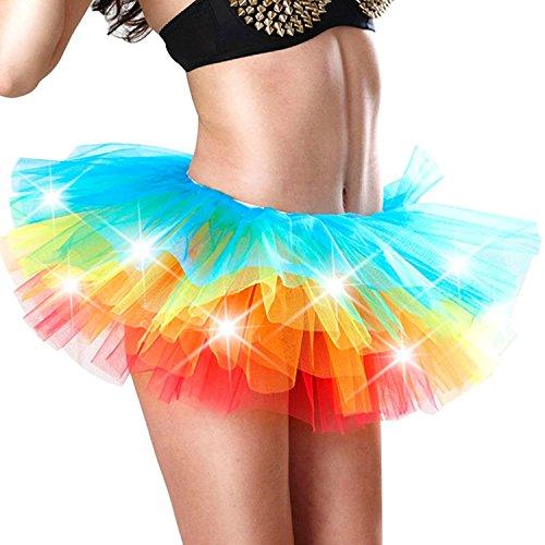 Damen Tutu Kostüme Regenbogen LED Licht Röckchen Unterkleid Gaze Neon-Ballettröckchen Sexy Petticoat Karneval Cosplay Tüllrock Kleid ()