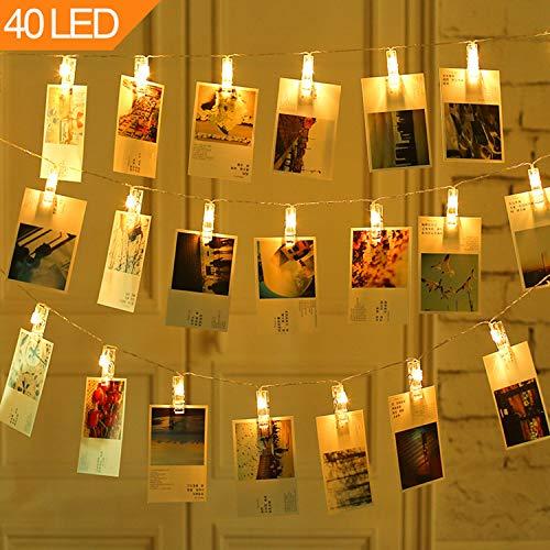 Moveonstep led foto clip stringa illuminazione 40 foto clips 8 modalità 5m batteria luci decorative bianco caldo para tabella foto nota opera d'arte