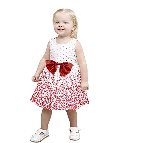❤️LILICAT Belle belle soleil rouge Enfants Infantile Kid Filles Dot Floral Imprimer Bowknot Princesse Robe Vêtements 12M-5T (Red, 12M)