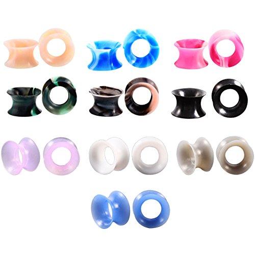 Huacan 20 Piezas Expansor de Túnel Silicona Delgada Suave Ear Plug Precing Expansor de oreja Diez Color 14MM