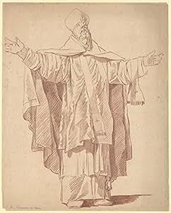 Anicet Charles Gabriel Lemonnier – Standing Ecclesiastic With Arms Upraised Impression d'art Print (45,72 x 60,96 cm)