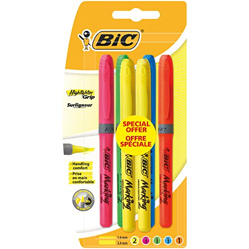 BIC Highlighter Grip Marcadores punta media (1,6 mm) - colores Surtidos, Blíster de 4+2