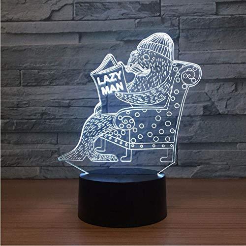 Luce Notturna Seal 3D Vision Lampada Da Notte Touch Touch Switch Lampade Usb Bella 7 Cambiamento Di Colore Lampada 3D Lampada Regalo Divertente Per Lazy Man-Touch Switch