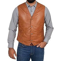 House Of Leather Chaleco de Cuero Real para Hombre Gilet Clásico de Estilo Tradicional Petrelli Bronceado (L)