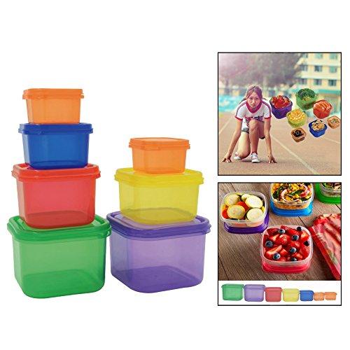 OFKPO 7 Stück Frischhaltedosen,Control Container Kit,auslaufsicher und bunten Brotdose