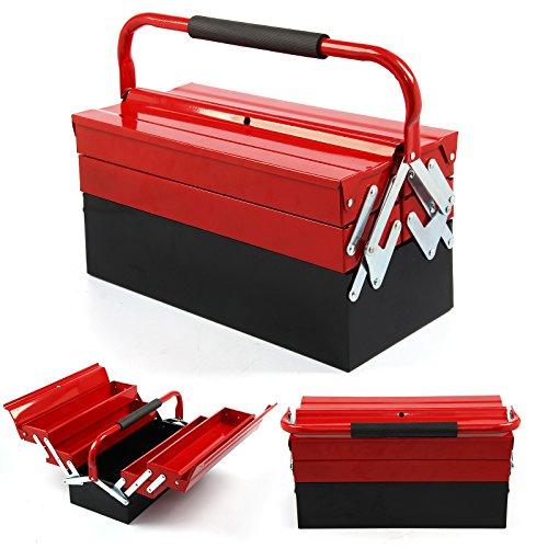 shoze Heavy Duty Metall Werkzeug Box 3Etagen 5Tablett Professional Tragbare Speicher Schrank Workshop Freischwinger Toolbox mit Tragegriffen 430mm rot