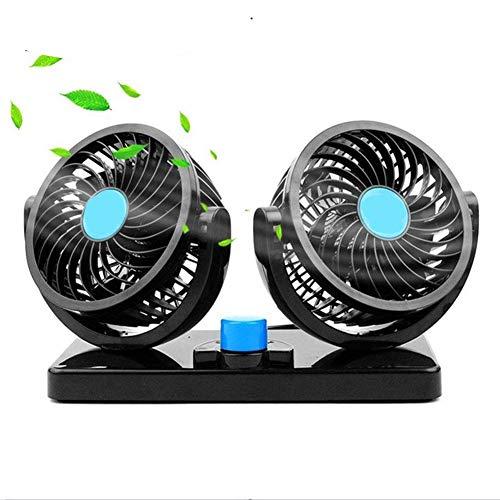 EJHNZSE 2 Geschwindigkeiten Einstellbar Auto Lüfter Doppellüfter 12V 15W Ventilator 360 Grad Manuelle Drehung mit Zigarettenanzünder Plug In Leistungsstarke Gebläse Luftfilte -