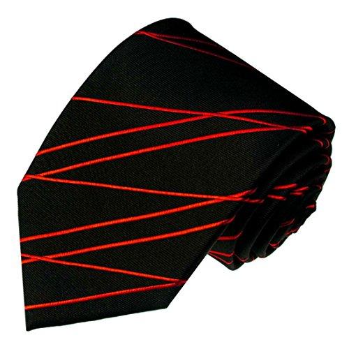 LORENZO CANA - Marken Krawatte aus 100% Seide - Luxuskrawatte Schwarz Rot - 84569