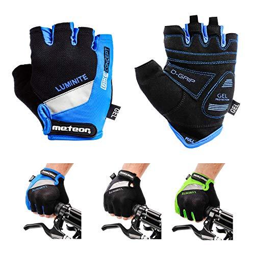 meteor Fahrradhandschuhe Gel GX30 Blau für Radsport MTB Road Race Downhill Wandern und andere Sports (XL, Blau)