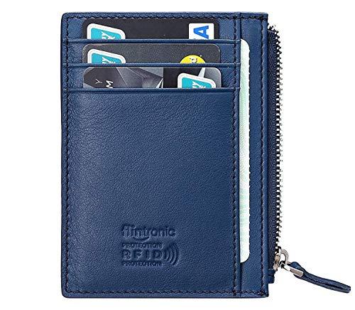 flintronic® Portefeuille en Cuir, Bleu Etui RFID Blocage Porte Carte de Crédit, Zip Porte-Monnaie, Coffret Cadeau
