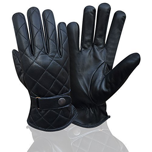 Neuf Pour Homme Mode Gants De Conduite Coupe Slim Chauffeur Classic Gants Vestimentaires 9902 - Noir avec surpiqûres noires, L