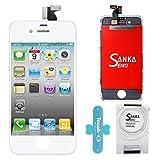 SANKA LCD Display Ersatz Bildschirm +Digitizer Touchscreen Front Glas für iPhone 4G Komplett-Weiß
