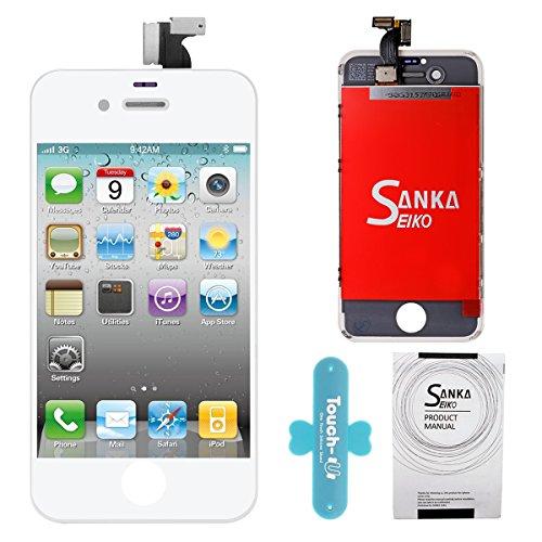 SANKA LCD Display Ersatz Bildschirm +Digitizer Touchscreen Front Glas für iPhone 4G Komplett-Weiß 4 Lcd-bildschirm-ersatz