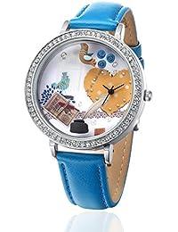 Reloj con IP Plateado y Correa Azul–Letra D amor