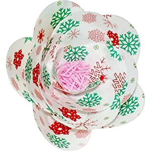Pack of 6 Pre-Cut Edible Wafer Ranunculus Flower Kit - Red and Green Snowflakes - 252-011
