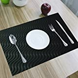 Kuber Industries Pvc Dining Table Placemats / Multi Purpose Mats Set Of 6 Pcs (Black)