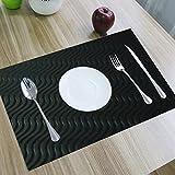 Kuber Industries Pvc Dining Table Placemats / Multi Purpose Mats Set Of 6 Pcs (Black)