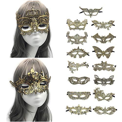 VJUKUBCUTE Packung Von 15 Sexy Frauen Gold Vintage Lace Masquerade Ausgefallene Kleid Masken Venezianischen Eyemask-Halloween Mardi Gras Party Maske -