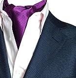 NiSeng Herren Jacquard Ascot Elegent Necktie Ascotkrawatte Paisley Krawatte Cravat Krawatten Accessoires für Festliche Veranstaltungen Violett