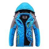 SODIAL(R) Tuta sportiva dei bambini cappotto caldo sportivi Double-deck impermeabile antivento addensare Ragazzi Ragazze Giacche autunno e inverno (Azzurro 11-12T=160CM)