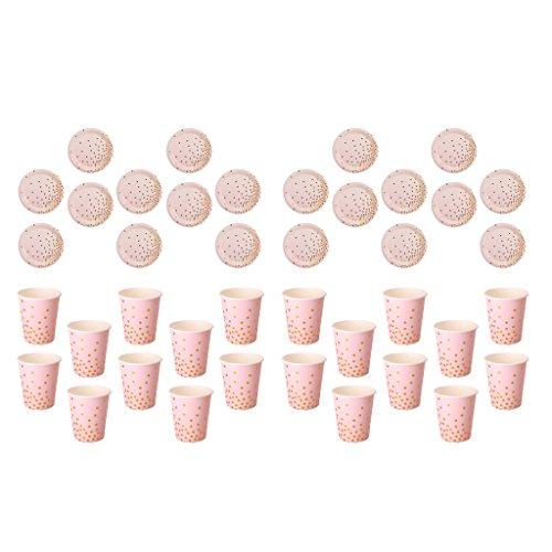 Sharplace 40 Set Glitter Gold Dots Assiette Plaques Gobelets De Papier Motif Jantes Jetables