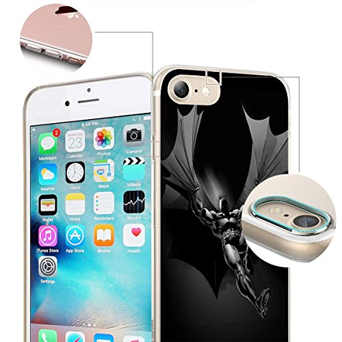 finoo | iPhone 8 Plus Weiche flexible Silikon-Handy-Hülle | Transparente TPU Cover Schale mit Motiv | Tasche Case Etui mit Ultra Slim Rundum-schutz |Batman Comic Close Up Batman flying